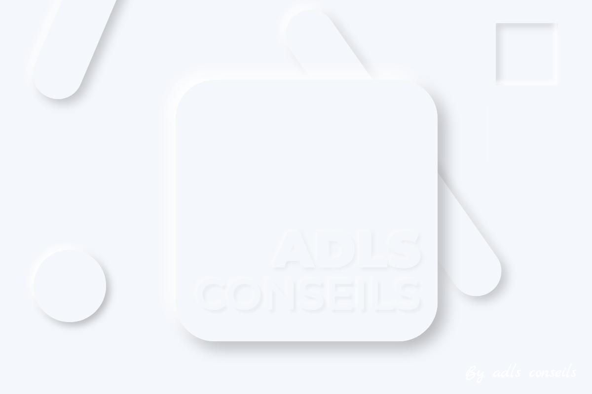 Le logo Adls conseils en neumorphism design